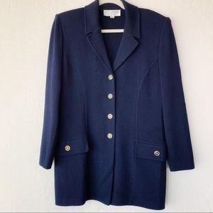 St. John blue Wool Knit long sweater blazer